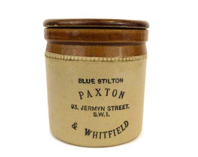 Vintage Lidded Stoneware Jar. Paxton and Whitfield Blue Stilton Cheese Pot. Pottery Jar. English Country Kitchen Decor.