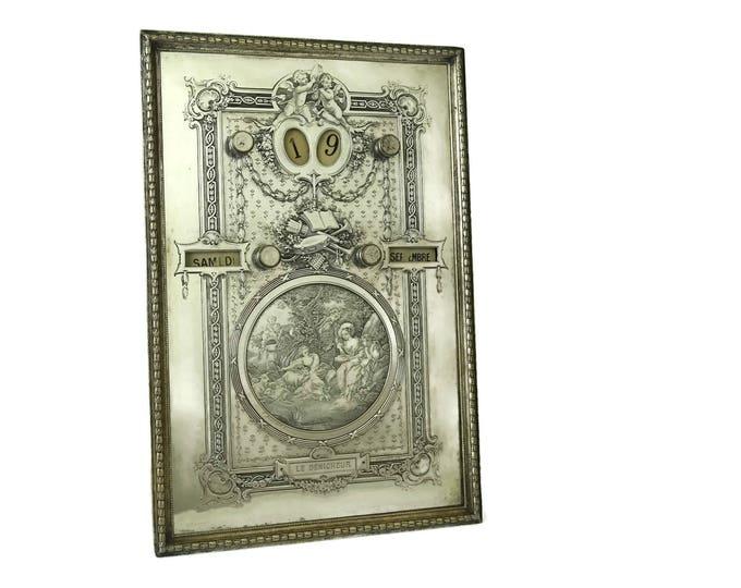 Antique Perpetual Calendar. Silver Plated French Desk Calendar. Romantic Office Decor. Antique Engraving of Francois Boucher Le Denicheur.