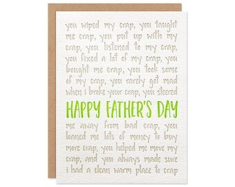 Funny Father's Day Card - Crap Happy - Letterpress Greeting Card