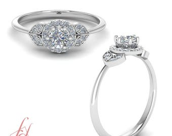 0.75 Ct. Round Diamond Halo Engagement Ring For Female In 14K White Gold GIA Certified