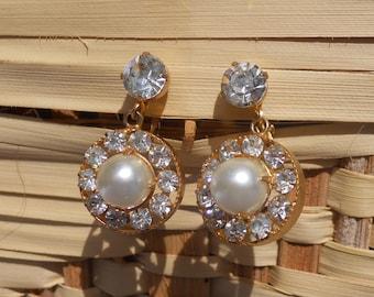 Vintage Hattie Carnegie Earrings Clear Rhinestones Faux Pearl in Center