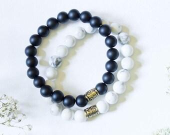 Matte Onyx/Howlite Gemstone Bracelets