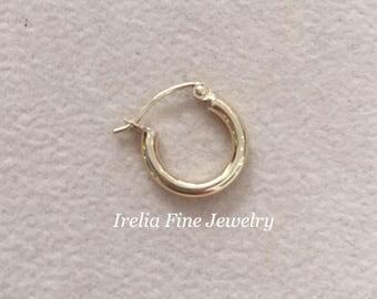 Single 10k Polished 2 mm Round Hoop Earrings --Free Shipping ---