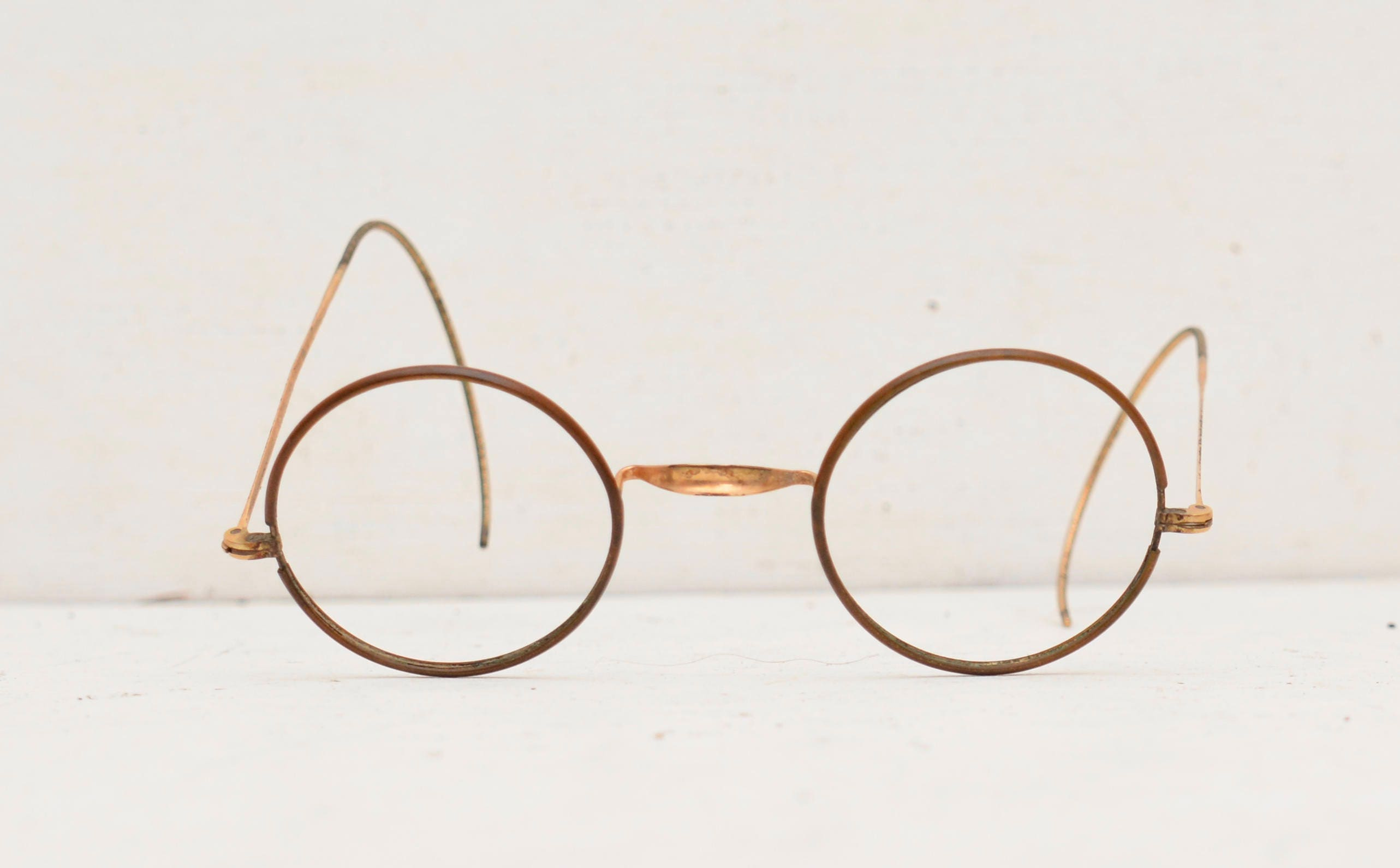 Antique Round Eyeglasses Frames; Made in U.S.A.; Copper Brass Gold ...