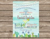Monograms & Margaritas Elegant Fiesta Bridal Shower Invitation
