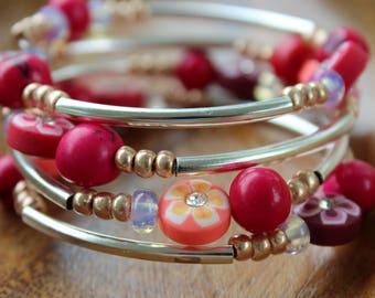 "Bracelet kinked ""Flower power"", 4 rows"