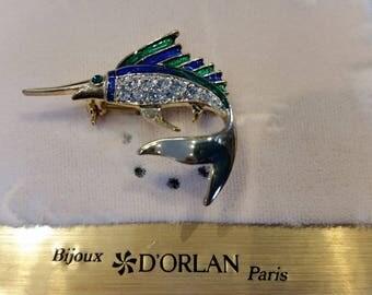 D'Orlan Swordfish Brooch.  Blue/Green enamel with handset Swarrovski crystals