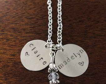 Multi charm custom hand stamped necklace