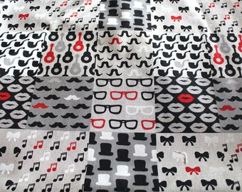 Fabric upholstery 50 x 70 cm deco black and Red
