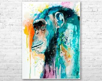 Original Watercolour Painting- Chimp Chimpanzee 2 art, animal illustration, animal watercolor, animals paintings, animals, portrait,