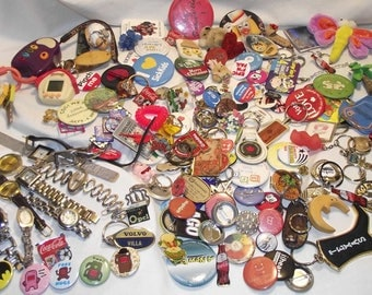150 pcs+ Vintage to newer junk drawer lot Watches, key chains, pin backs, lapel pins, buttons, pins, brooches etc. #285