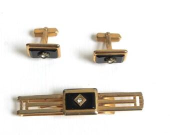 Cuff Link Set, Tie Clip Set, Gold Cuff Link Set, Gold Tie Clip Set, Black Cuff Link Set, Black Tie Clip Set, Groom Cuff Link Set