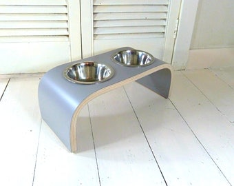 Platinum Grey Raised Dog Bowl Stand available in wide range of sizes.