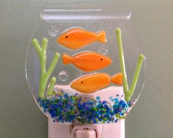 Goldfish, Goldfish Bowl, Goldfish Swimming About, Fused Glass, Night Light