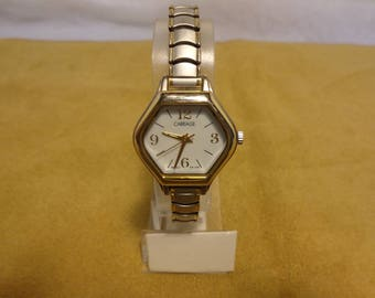 Vintage Carriage Indiglo by Timex Ladies  Hexagon Dial, Expansion Band, Two Tone Silver and Gold Quartz Watch