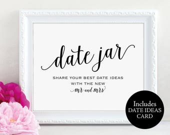 Date Jar Sign, Mr and Mrs, Date Night Ideas Card, Date Jar Wedding Sign, Wedding Printable, Date Jar, Date Sign, Instant Download, MM01-1