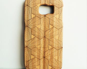 WOODEN PHONE CASE Samsung hexagons design laser etched bamboo (wooden Samsung S7 edge case)