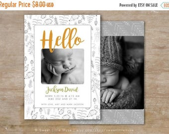 ON SALE Birth Announcement Template - Woodland birth announcement template - baby boys birth announcements boy or girl birth announcement