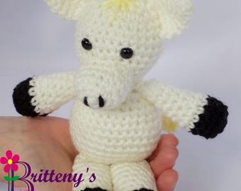 Horse Stuffed Animal / White Horse Stuffed Animal / Crochet White Horse Stuffed Animal / Crochet Horse Plush Toy / Crochet White Horse Pal