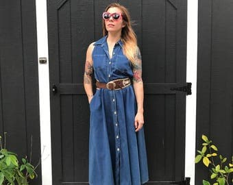 90's Denim Button Down Full Skirt Dress