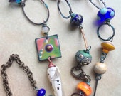 Orphan Bead Eclectic Artisan Long Necklace designed by Angela Gruenke of Contents Jewelry