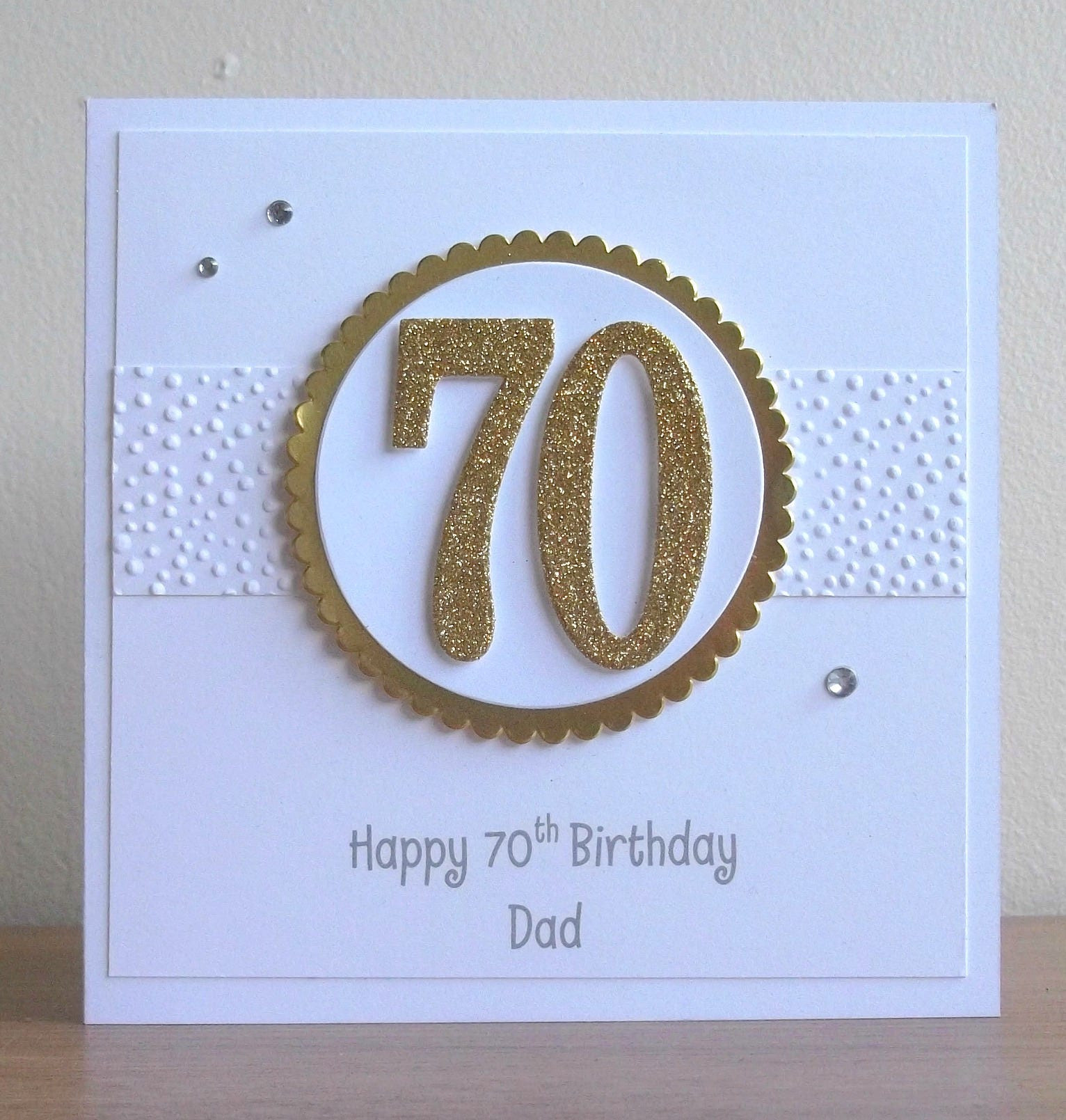 handmade 70th birthday card personalized can be any age or
