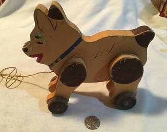 Vintage Wood Pull Toy Dog