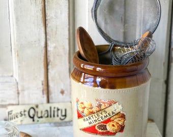 A wonderful salt glazed pot with original label Hartley's Mincemeat