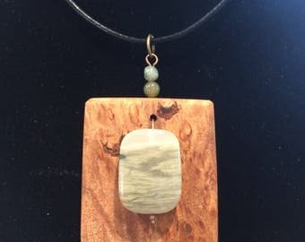 Wood and stone pendant for her, valentines gift, maple burl, jasper stone