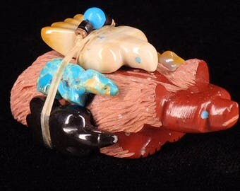 Zuni Fetish Directional Set Red Badger Mountian Lion Wolf Mole Eagle Badger Daisy and LaVies Natewa Native American Artists