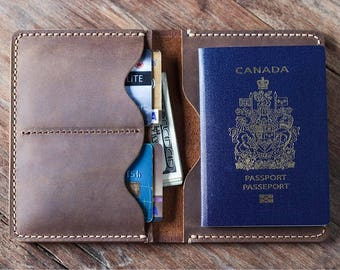 Passport Wallet, Leather Passport Wallet, travel wallet, passport case, leather passport holder, document wallet - Listing #021