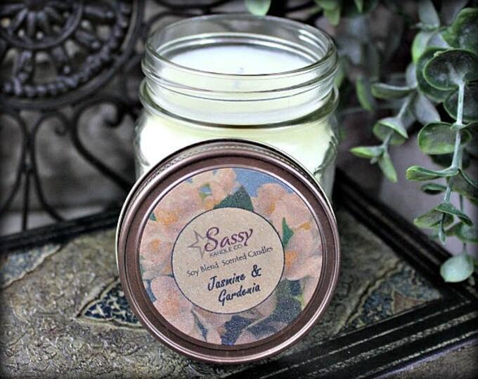 JASMINE & GARDENIA | Mason Jar Candle | Sassy Kandle Co.