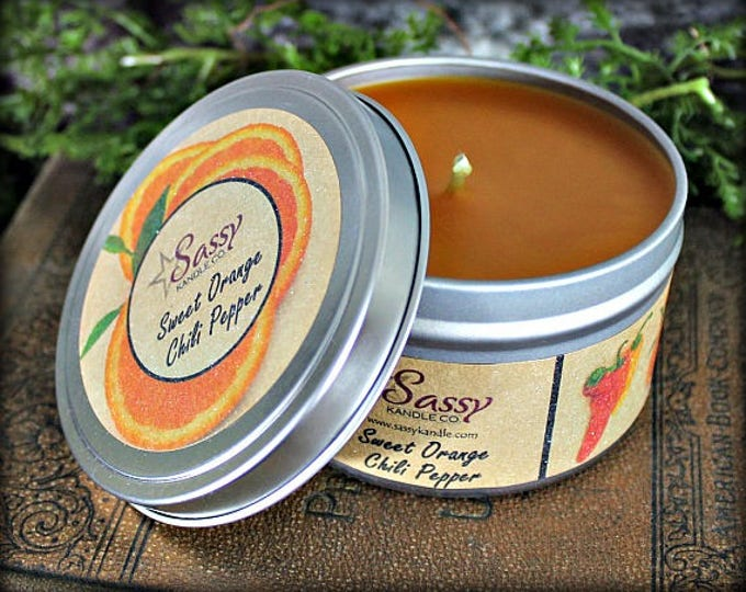 Sweet Orange Chili Pepper | Candle Tin (4 or 8 oz) | Sassy Kandle Co.