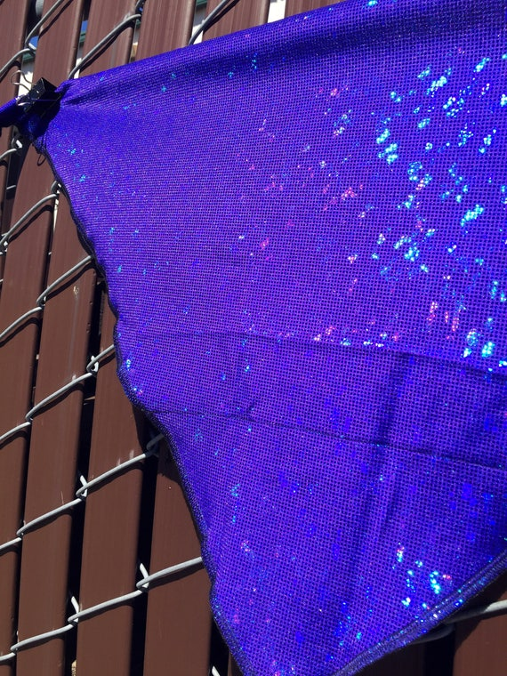 Holographic Spandex Bandana w/ Shattered Glass in Royal Blue Rainbow Sheen and Hidden Stash Pocket
