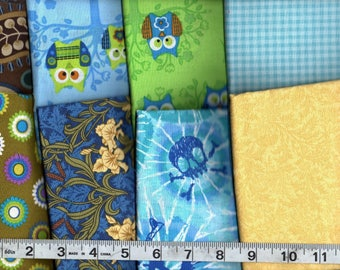 8-Piece Fat Quarter Bundle Assorted  Cotton Quilting Fabric #2  Free Shipping