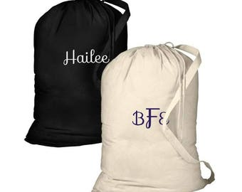 Monogrammed Canvas Laundry Bag -Personalized Laundry Bag College Laundry Bag Large Canvas Laundry Bag Camping Bag Dirty clothes bag,