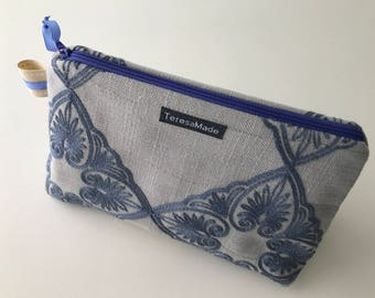 Stand Up Embroidered Zip Pouch