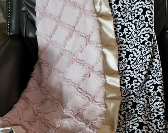Adult Minky Travel Blanket - Black and White Damask Minky with Embossed Rosewater Lattice and Champagne Satin Trim