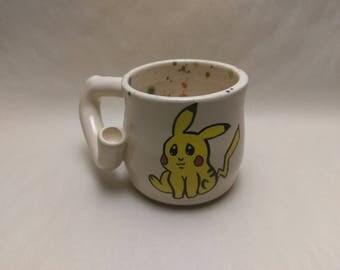 """WAKE and BAKE Pipe MUG - Pokemon Inspired """"Pika"""" - Handmade Ceramic #731"""