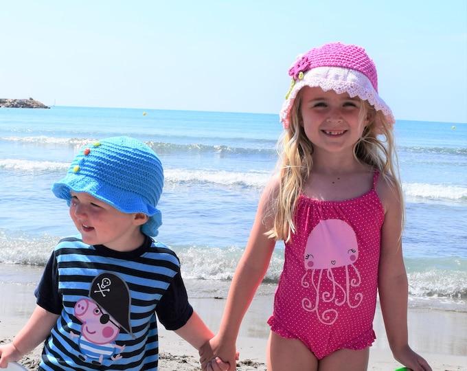 Knitting Pattern for Sun Hats, Sun Hat for Girl, Sun Hat for Boy, Babies Lightweight Cotton Sun hat, Knitted sun hat children, Summer hat