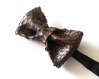 Leather bow tie, bow-tie, men's bow tie, Python, brown