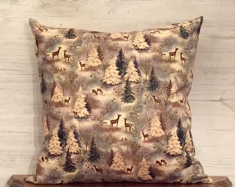 Deer Throw Pillow - Deer Pillow Cover - Woodland Pillow - Cabin Pillow - Deer Decor - Rustic Home Decor - Rustic Pillow - Farmhouse Pillow