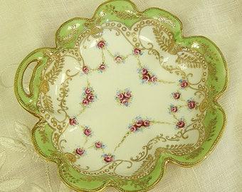Noritake Nippon - Hand Painted - Moriage - Royal Crockery - Gold Trim Green Border - Pink Blue Floral Swag - Candy Bon Bon Condiment Bowl