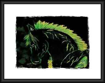 Neon Horse Silhouette Painting