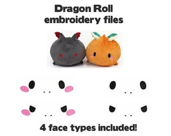Embroidery machine files - Plushie face eyes for Dragon Roll plush - kawaii digital download loaf stacking plushie PES JEF