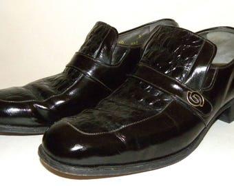 1970s 70s Croc Leather French Shriner shoes / Fancy dandy MOD Dapper / Black Croc Stamp Vintage Men 8 / Women 10