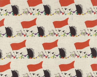 Hedgehog Circus Parade: Natural - Cotton/Linen Canvas Fabric - Japan Import (By the Half Yard)