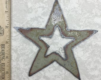Vintage Metal Shapes, Large, Stars, Hearts, Arrows, Salvage, Primitive Metal Pieces, Recycled Metal, Embellishments, For Mixed Media, OOAK