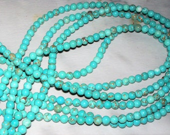 Turquoise Magnesite Gemstone w/Matrix - 4MM
