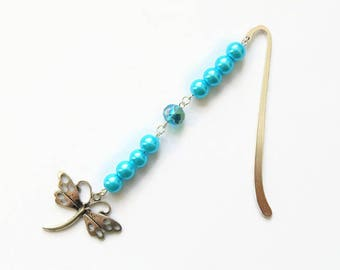 Dragonfly bookmark, metal bookmark, gift for her, beaded bookmark, dragonfly gift, unique bookmark, blue bookmark, bookmark gift, bookmarker